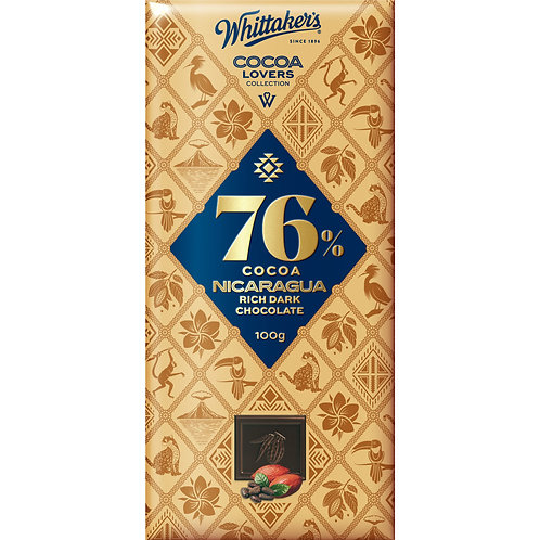 Whittakers Cocoa Lovers 76% Nicaragua Rich Dark Chocolate Block 100g