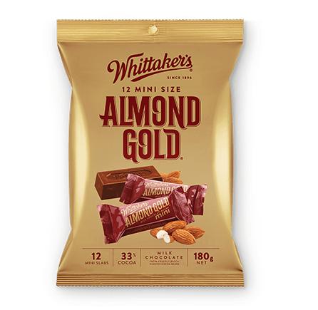 Whittakers Mini Size Almond Gold Slab (12pcs/180g) 杏仁朱古力
