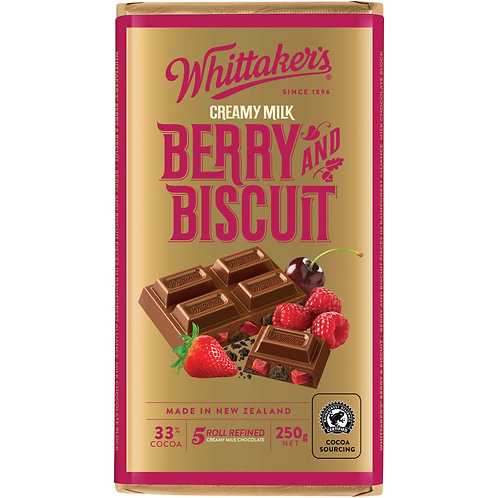 Whittakers Berry & Biscuit Block 250g 香莓餅乾朱古力