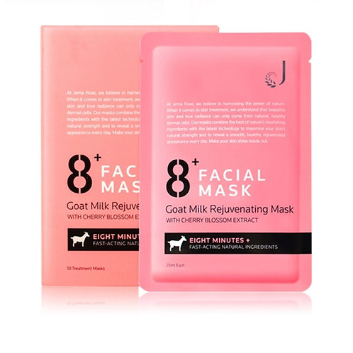 Jema Rose 8+ Minutes Goat Milk Rejuvenating Mask (25ml*10) 8分鐘羊奶嫩白面膜10片