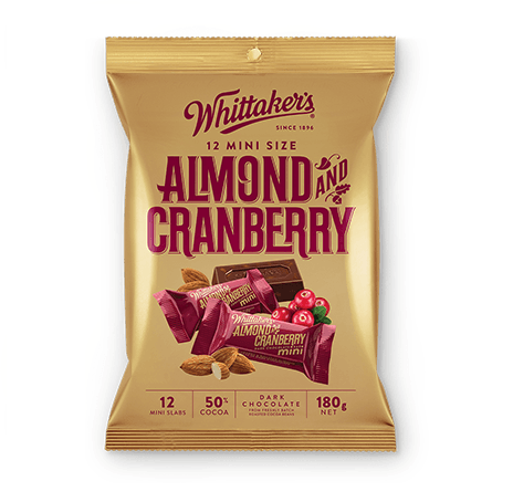 Whittakers Mini Size Almond and Cranberry Slab (12pcs/180g) 杏仁蔓越莓黑朱古力
