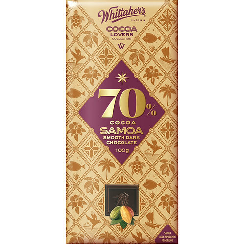 Whittakers Cocoa Lovers 70% Samoa Smooth Dark Chocolate Block 100g