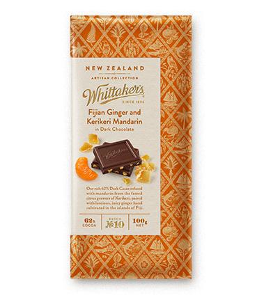 Whittakers Fijian Ginger and Kerikeri Mandarin Block 100g 薑柑黑朱古力