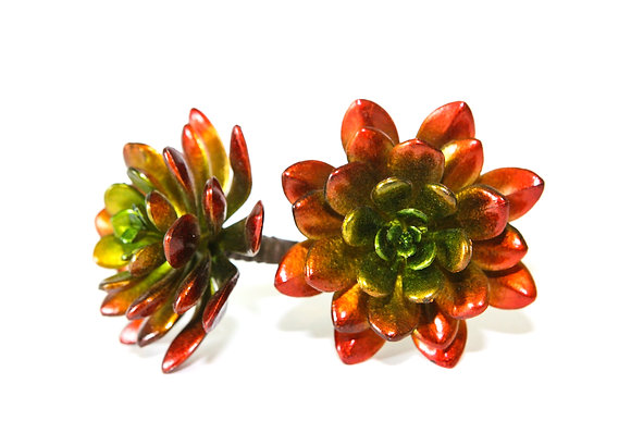 Artificial Metallic Red Echeveria Succulent
