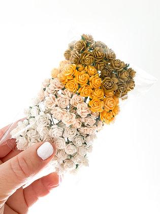 100 Open Rose Paper Flowers in Earth Tones
