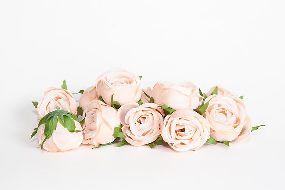 12 Small Cabbage Roses in Creamy Blush Pink - Artificial Flowers