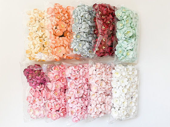 50 Cherry Blossom Paper Flowers - CHOOSE COLOR