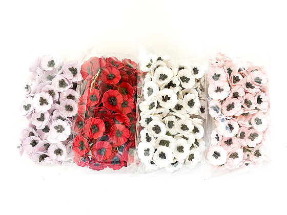 50 Poppy Paper Flowers - CHOOSE COLOR