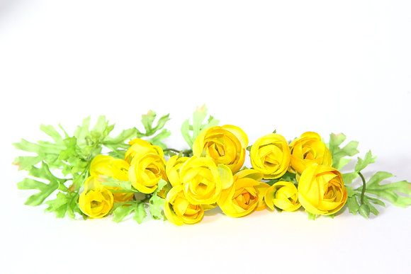 14 Small Yellow Ranunculus Flowers on Short Stems - Artificial flowers
