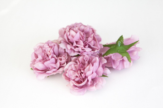 Set of 3 Smaller Cabbage Peonies in Antique Mauve Purple- 3.5 inches - ITEM 0301