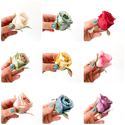 Pack of 6 Roses - CHOOSE COLOR -Artificial Flowers