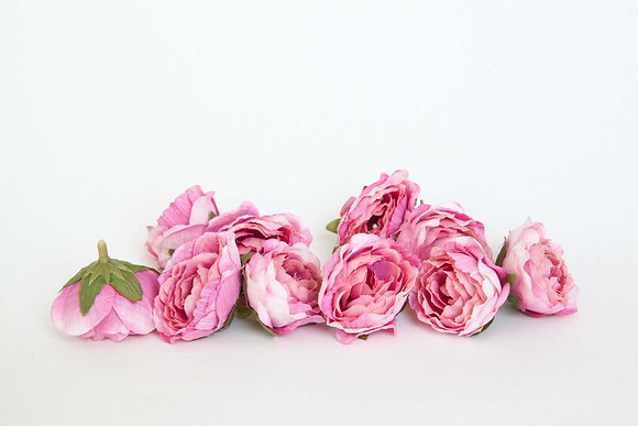 10 Mini Ruffle Roses in PINK/WHITE