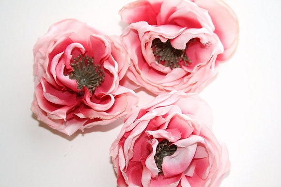 3 Dry Look Peonies in Two Tone Light Pink - 2.5 inches