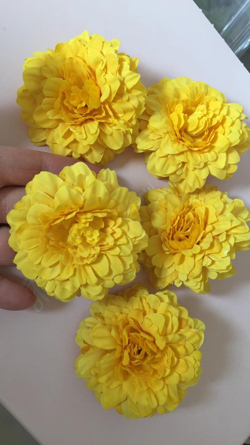 5 yellow flowers artificial flowers silk flowers wholesale these cute yellow flowers are 275 inches in diameter and very flat mightylinksfo