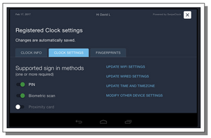 TimeWorksTouch Clock Settings