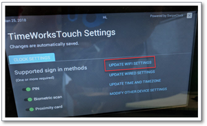TimeWorksTouch Wifi Settings