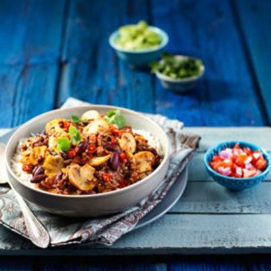 Mushroom Con Carne with Beans, Quinoa, Sprout Salad & Broccoli