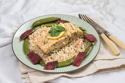 Rosemary and Thyme Salmon with Spiced Cous Cous, Sprout Salad & Grilled Beetroot