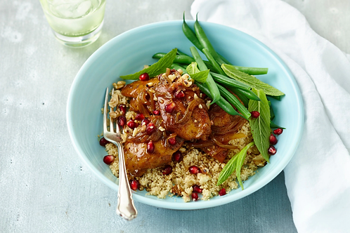 Pomegranate Chicken Breast with Almond Cous Cous, Sprout Salad & Mushrooms
