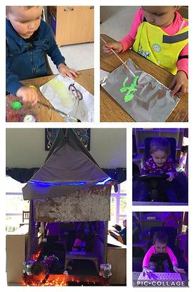 Children building a rocket ship