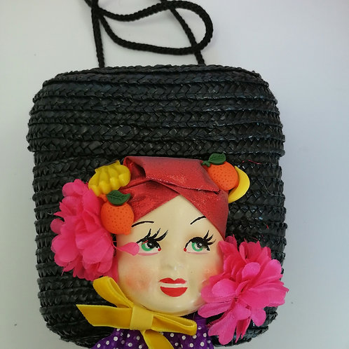 Carmen Miranda Doll Bag Wicker 80's Evening bag