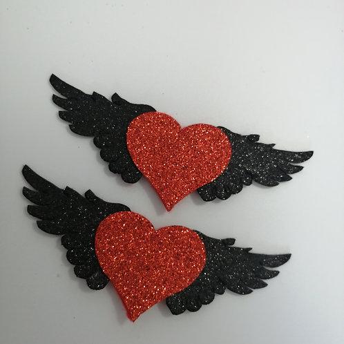 Large Heart & Wings Shoe Clips