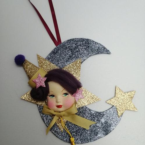 Kitsch Handmade Glitter Moon Face