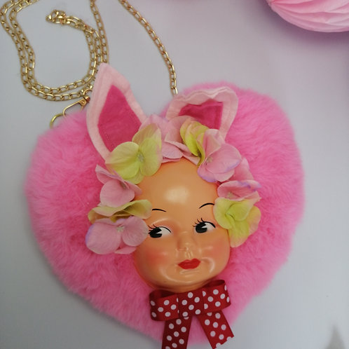 Kitsch Pink faux fur Bunny Heart bag