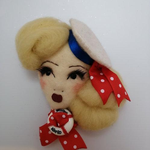 Nautical Sailor Girl  Doll Brooch / Corsage