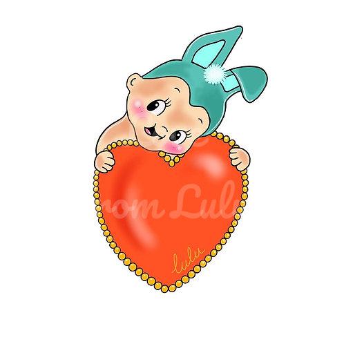 Kitsch Kewpie Love Heart Sweatshirt