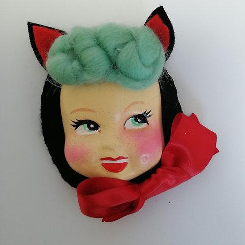 Vintage style Kitten  Doll Brooch