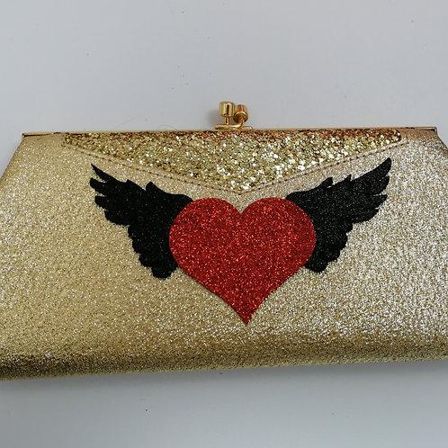 Vintage Gold Rockabilly Clutch Heart & Wings