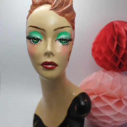 'LULU' Handpainted Female 50's style Mannequin Head