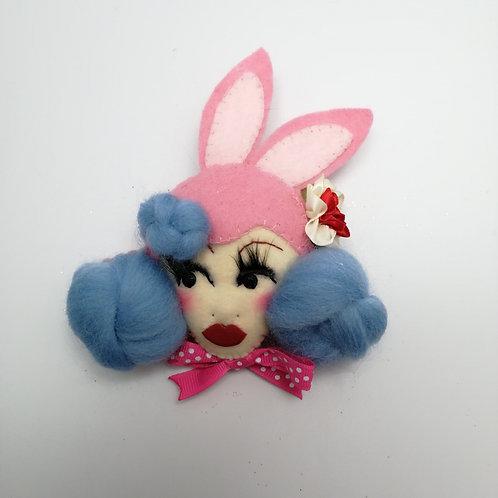 'Bunnie' Easter Doll Brooch