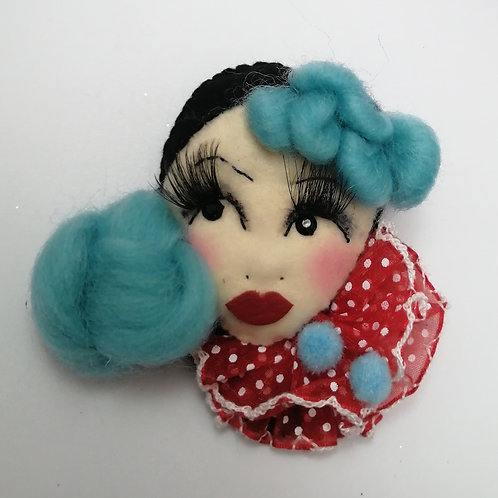 'Mimi' Kitsch Clown Doll Brooch / Corsage