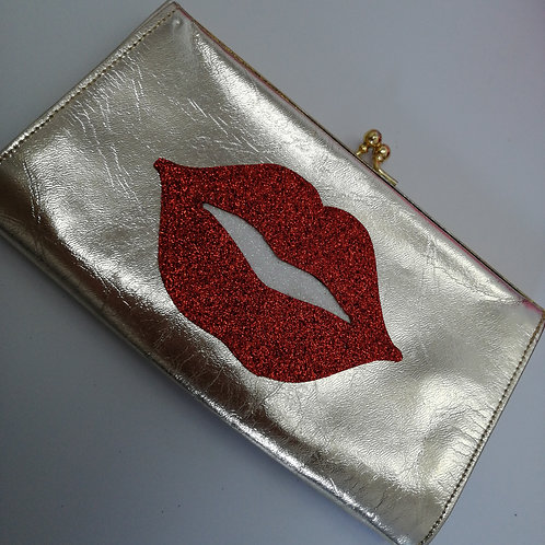Vintage Gold Leather Clutch with Lips Design