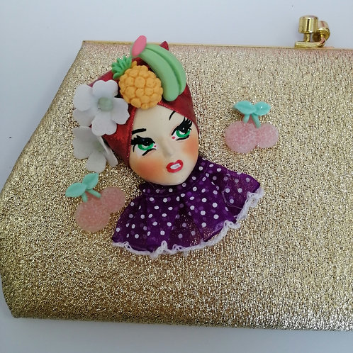 Carmen Miranda Doll Bag 60's Gold Clutch / Evening bag