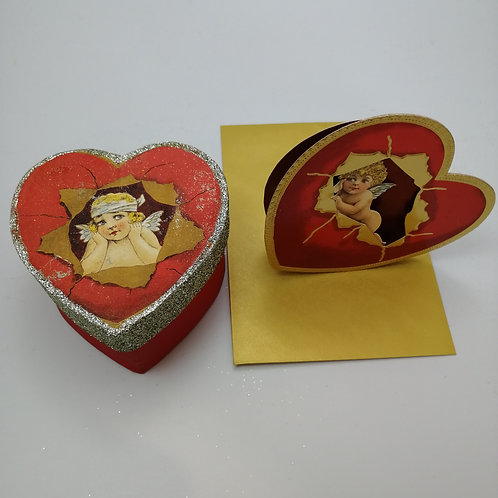 Vintage Style Valentine Gift Box and card