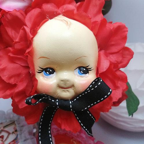 Large Kitsch Red Kewpie Flower Baby