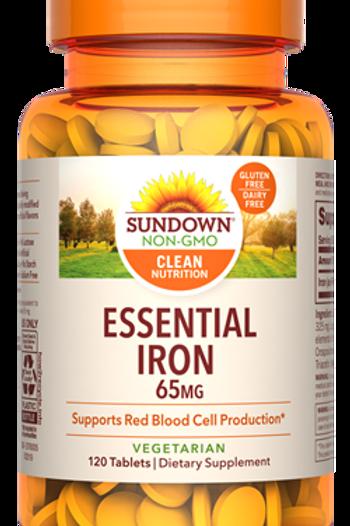 Sundown Essential Iron 65mg (325mg elemental iron) Tablets 120ct
