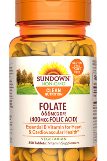 Sundown Folate 666 mcg (400 mcg Folic Acid) Tablets 350ct