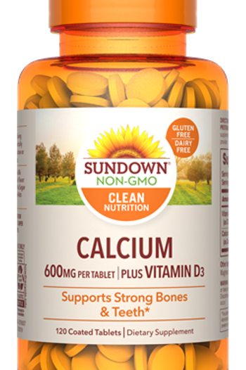 Sundown Calcium 600mg + Vitamin D Tablets 120 ct