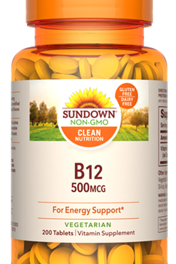 Sundown Vitamin B12 500mcg Tablets 200ct