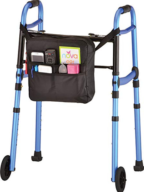 Nova Blue Folding Walker with 5″ Wheels, Walker Skis, and Mobility Bag