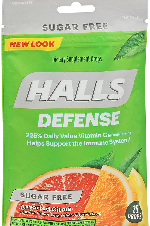 Halls Defense Sugar Free Assorted Citrus Drops - 25 drops