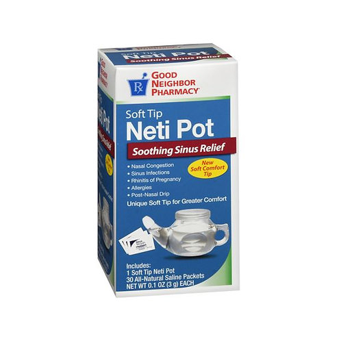 Sinus Rinse - Soft Tip Neti Pot with 30 Saline Packets