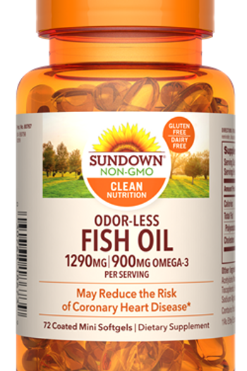 Sundown Odor-less Fish Oil 1290mg Mini Softgels 72ct