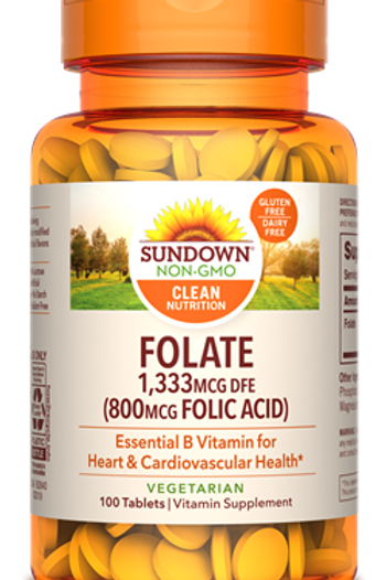 Sundown Folate 1,333 mcg (800 mcg Folic Acid) Tablets 100ct