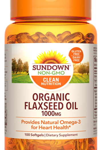 Sundown Organic Flaxseed Oil 1000mg Softgels 100ct