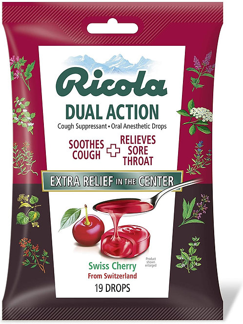 Ricola Dual Action Swiss Cherry Drops - 19 drops